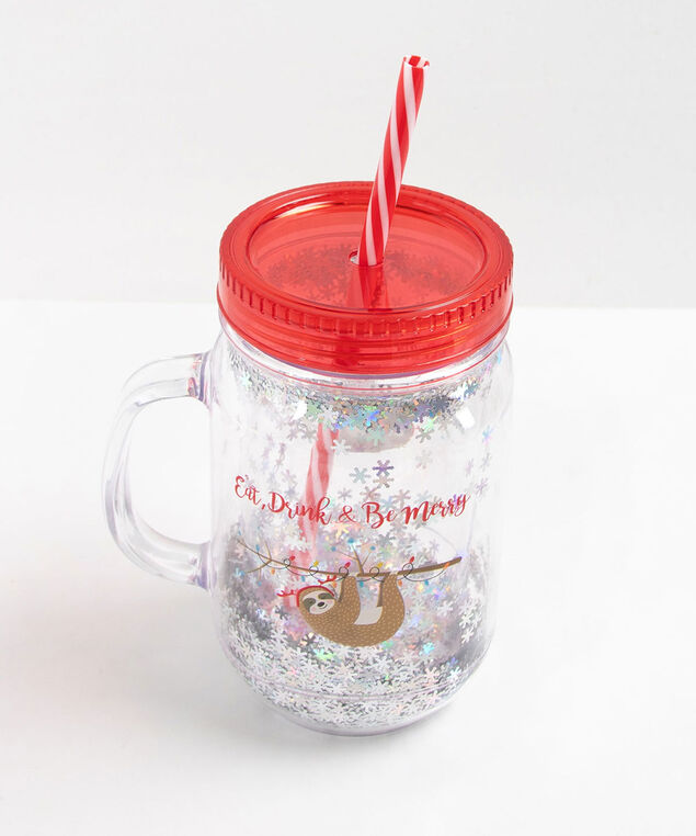 SLOTH HOLIDAY MASON JAR WITH SNOWFLAKES, Red/White, hi-res