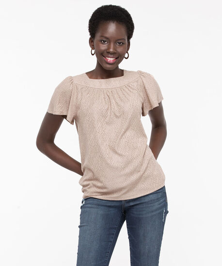 Textured Square Neck Top, Sand, hi-res