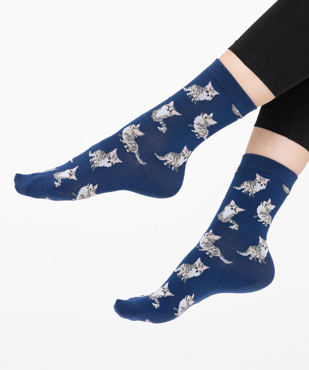 Blue Kitten Print Socks, Blue