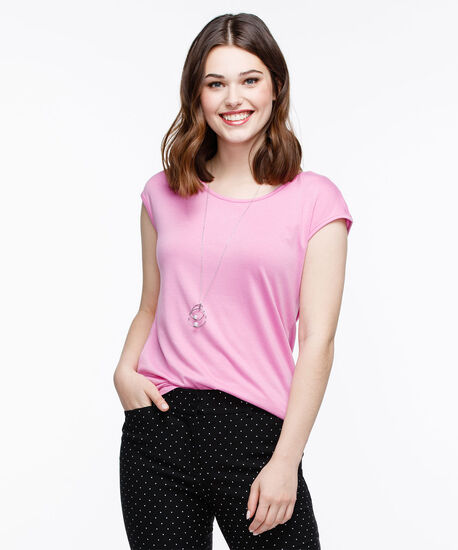 Cross Back Extended Sleeve Top, Pink, hi-res