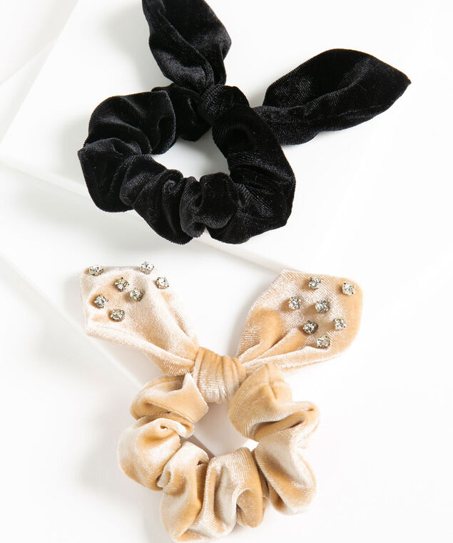 Velvet Hair Scrunchie 2-Pack, Black/Beige