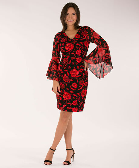 Bell Sleeve Sheath Dress, Cherry/Black, hi-res
