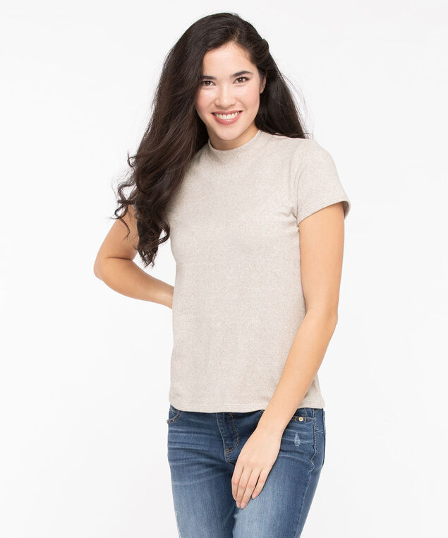 Super Soft Mock Neck Top, Stone, hi-res