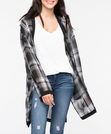 Plaid Ruana, Black/True White, hi-res