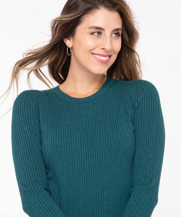EcoVero™ Crew Neck Sweater, Teal, hi-res
