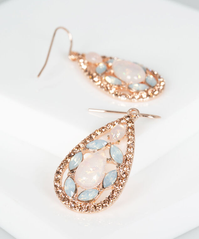 Tear Shaped Crystal Drop Earring, Rose Gold/Blush, hi-res