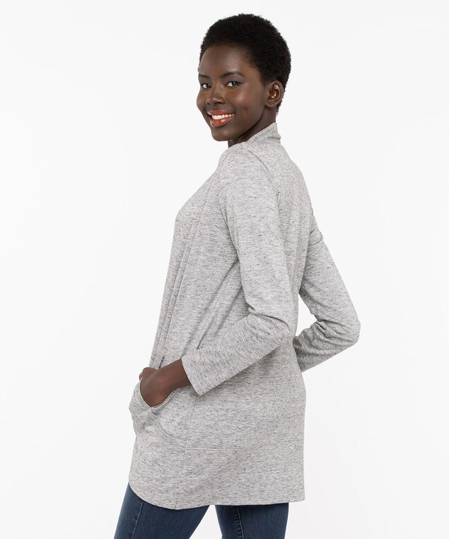 Longline High-Low Open Cardigan, Light Heather Grey Mix, hi-res