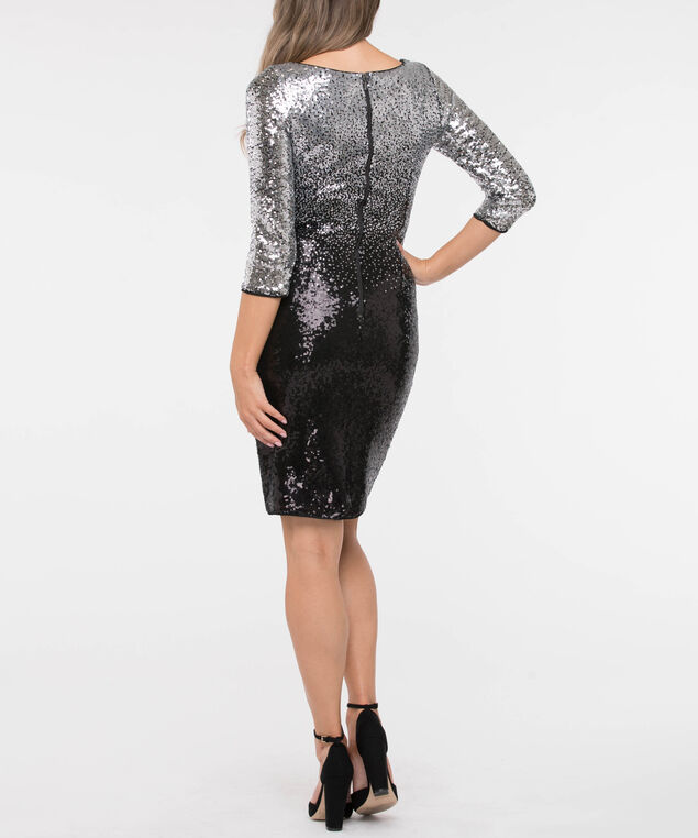 Ombre Sequin Cocktail Dress, Silver/Black, hi-res