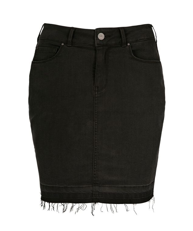 Release Hem Denim Skirt, Black, hi-res