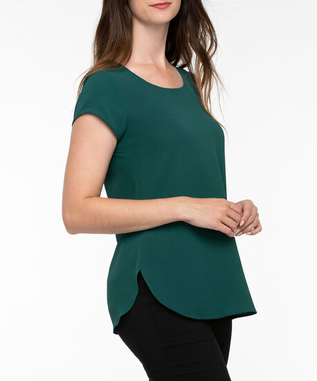 Short Sleeve Scoop Neck Blouse, Ivy, hi-res