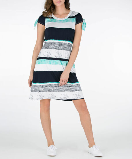 Striped Cold Shoulder Sundress, Summer Navy/Pearl/Aqua, hi-res