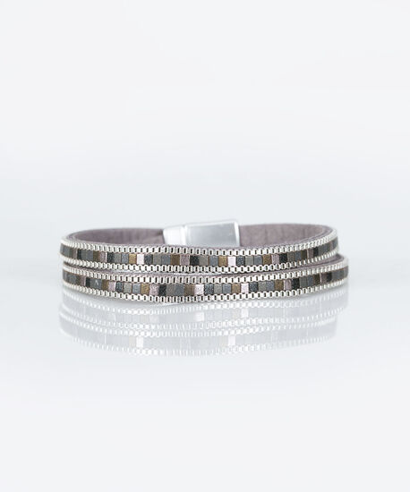 Double Row Magnetic Wrap Bracelet, Rhodium/Mid Heathered Charcol/Grey, hi-res