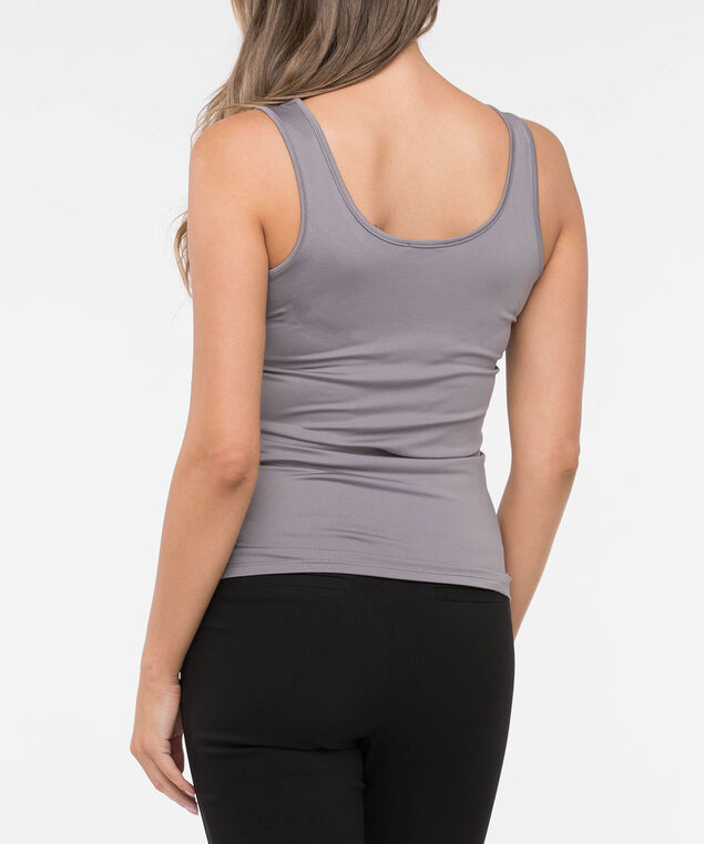 Built Up Scoop Neck Cami, Light Grey, hi-res