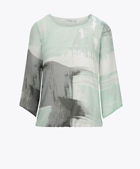 Flare Sleeve Bubble Hem Blouse, Aqua/Pearl/Grey, hi-res