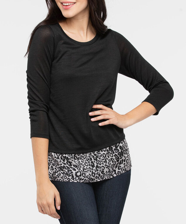 Lightweight Knit Fooler Top, Black/Grey, hi-res
