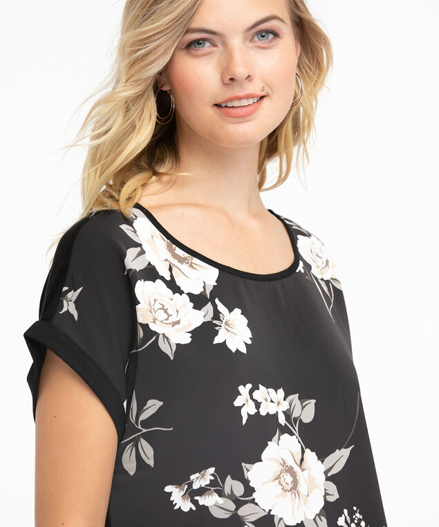 Short Sleeve Mixed Media Top, Black/White Floral