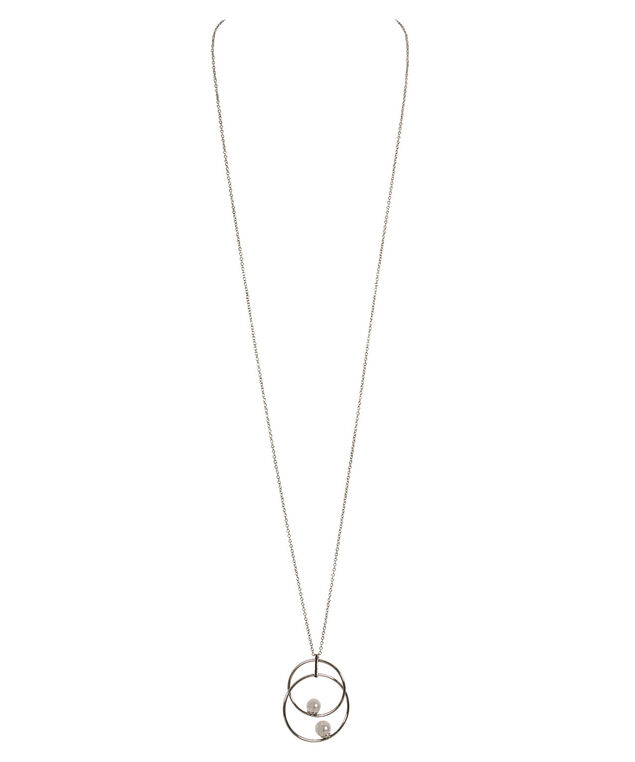 Circle & Stationed Pearl Pendant Necklace, White/Rhodium, hi-res