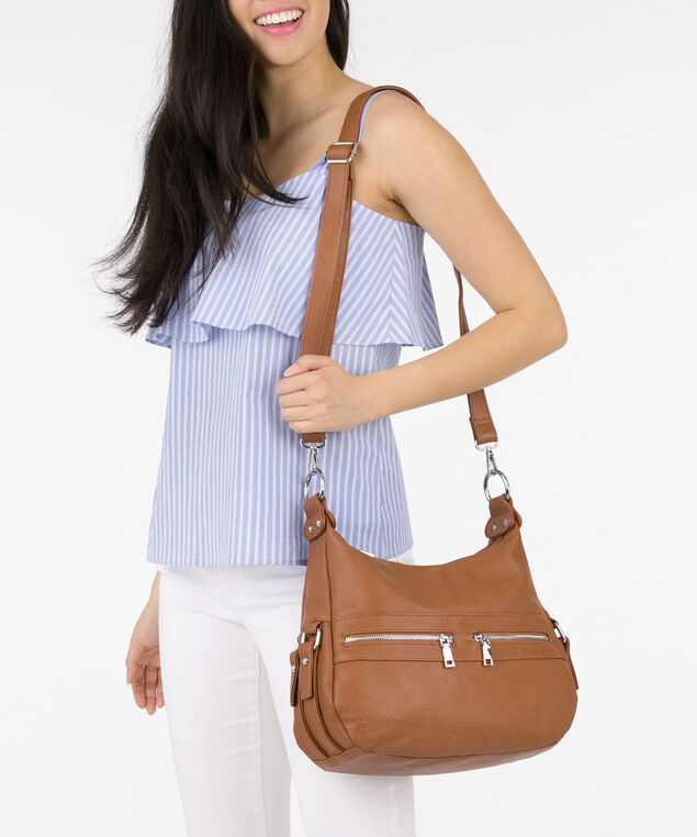 Multi Compartment Handbag, Brown, hi-res