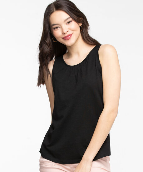 Sleeveless Gathered Neck Top, Black, hi-res
