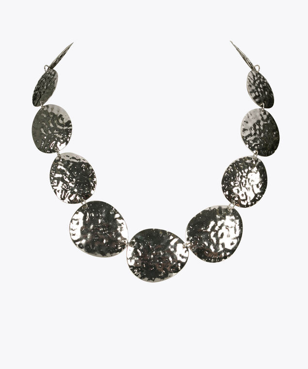 Hammered Disc Statement Necklace, Rhodium, hi-res