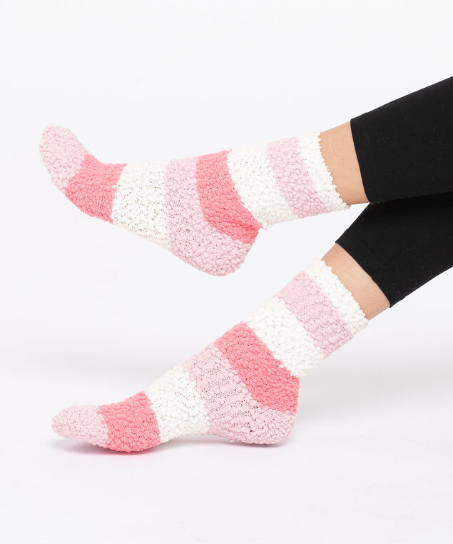 Striped Plush Textured Socks, Pink/Misty Rose/Ivory