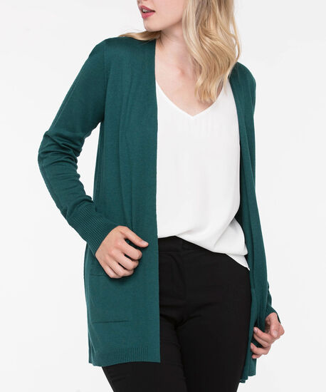 Long Sleeve Pointelle Open Cardigan, Ivy, hi-res