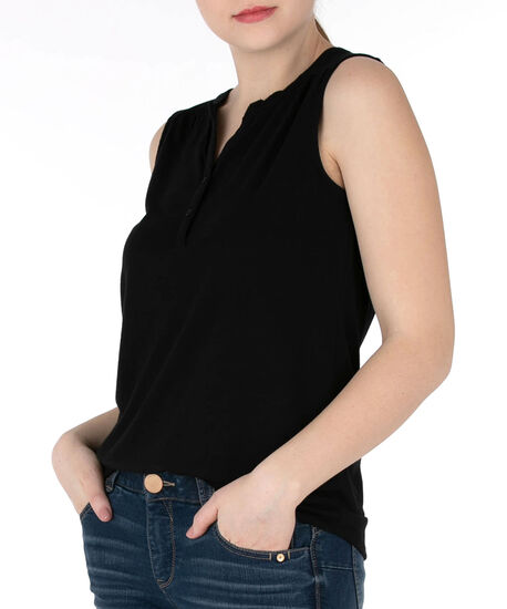 Sleeveless Henley Tee, Black, hi-res