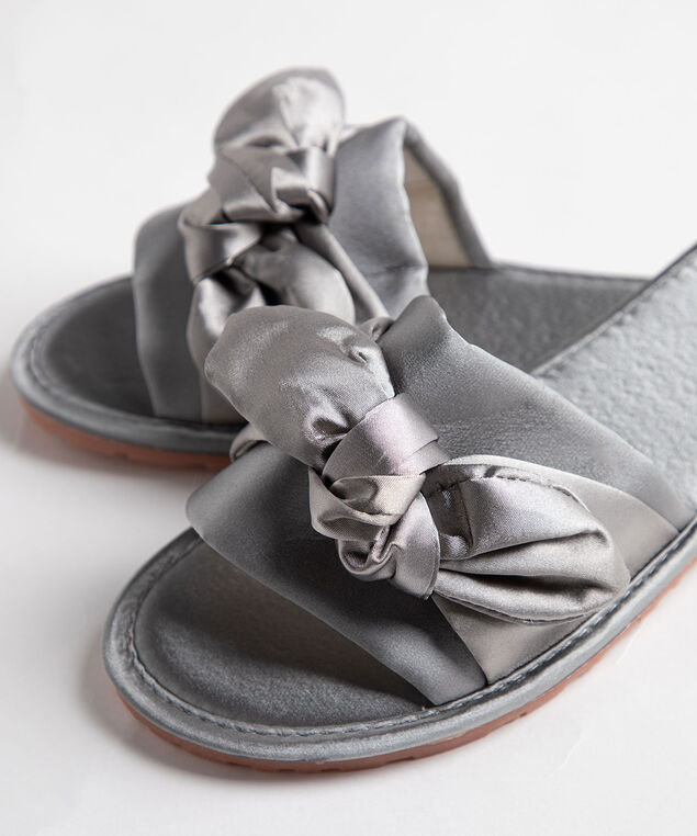 Satin Twisted Bow Slippers, Grey