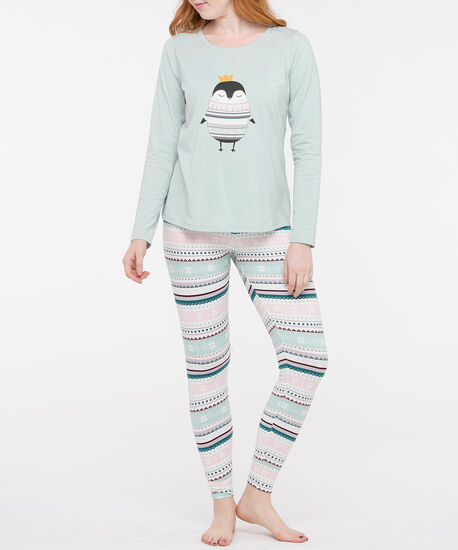 Penguin Screen Tee Pajamas, Sea Foam/Black/Pearl, hi-res