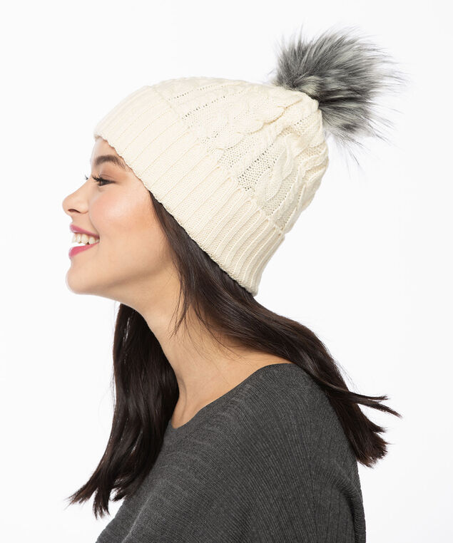 Chunky Cable Knit Toque, Almond/Grey, hi-res