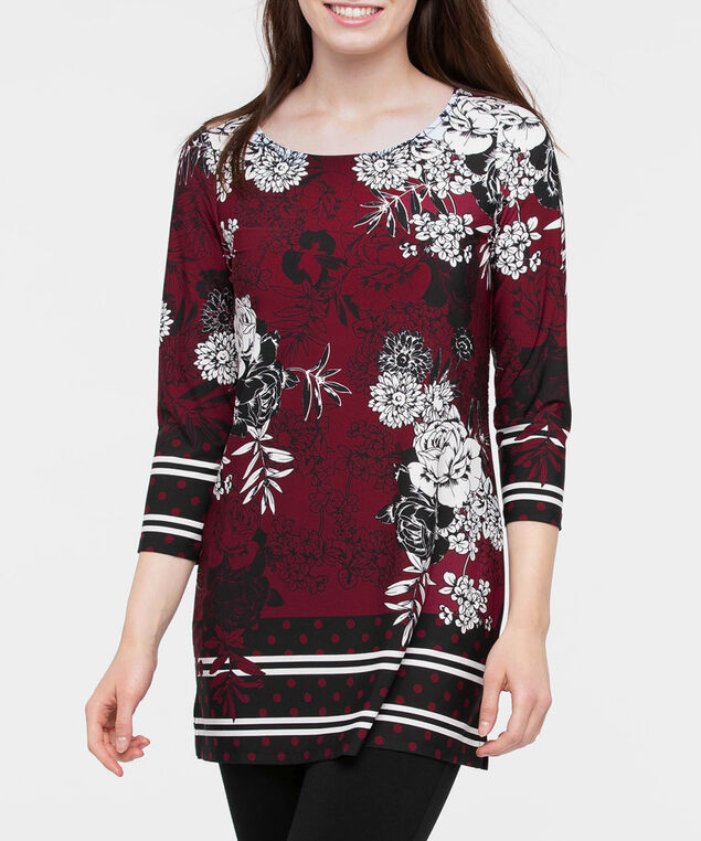 3/4 Sleeve Scoop Neck Tunic, Burgundy/Black/Pearl, hi-res
