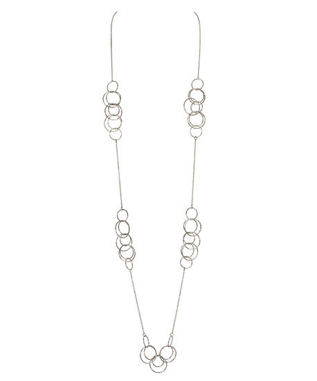 Intertwined O-Ring Necklace, Rhodium, hi-res