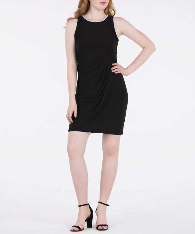 Sleeveless Crystal Trim Dress, Black, hi-res