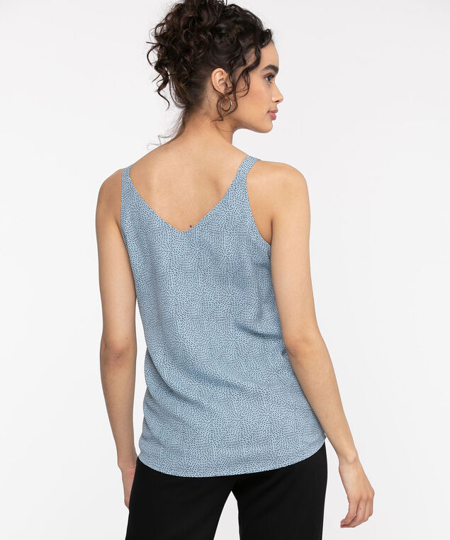 Strappy Double Layer Sleeveless Blouse, Dusty Blue/Black