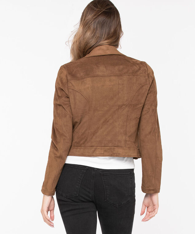 Faux Suede Moto Jacket, Toffee, hi-res