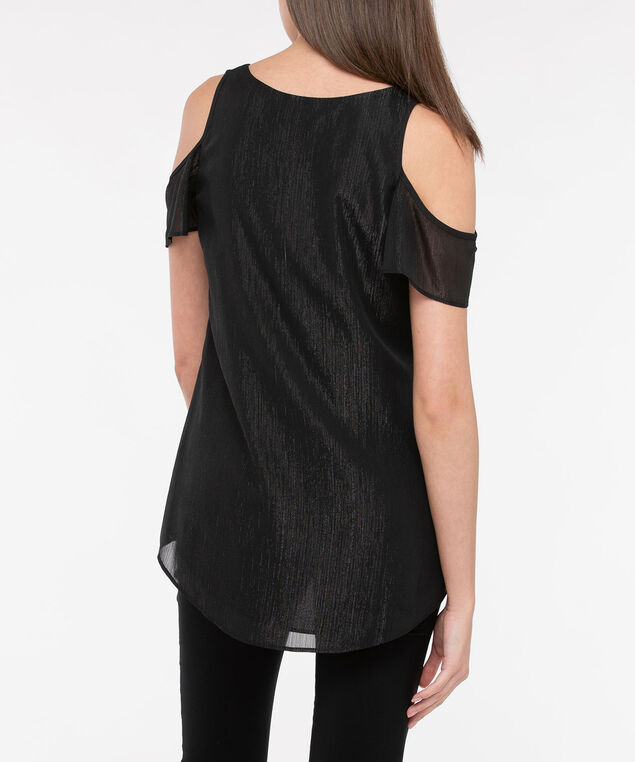 Flutter Sleeve Cold Shoulder Blouse, Black, hi-res