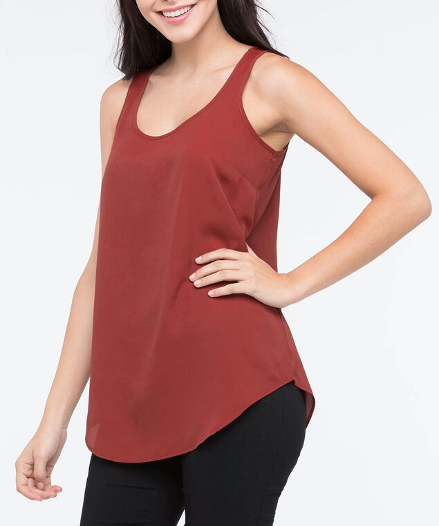 Scoop Neck Woven Layering Cami, Rust, hi-res