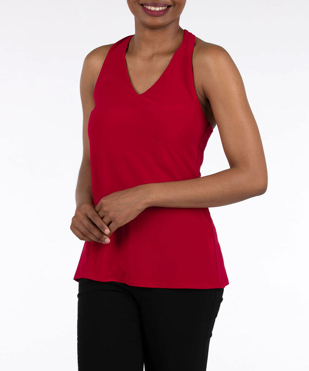 V-Neck Racer Back Halter Top, Cherry, hi-res