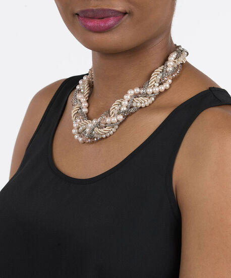 Braided Pearl & Bead Statement Necklace, Rhodium/Gold/Cameo Pink, hi-res