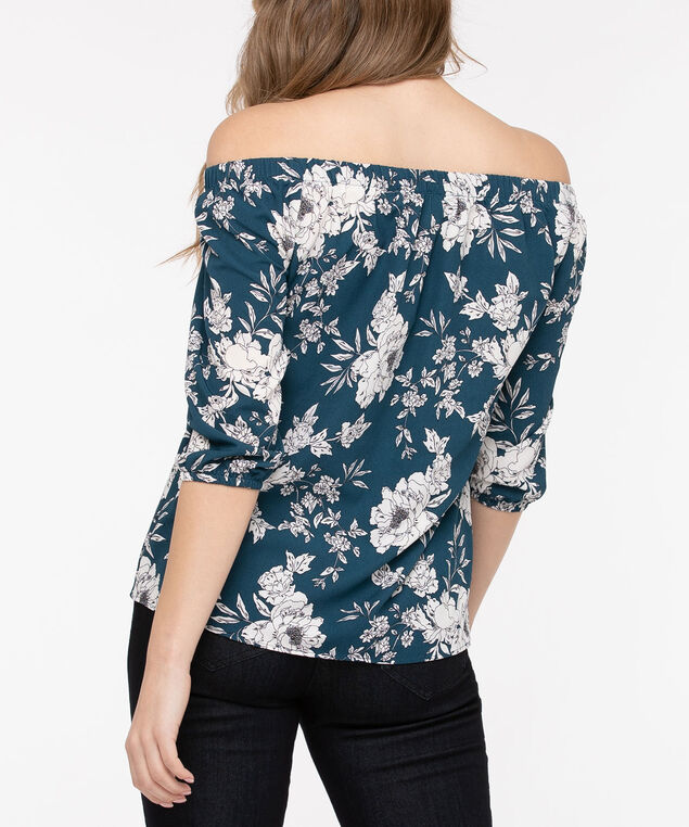 Off-The-Shoulder Floral Blouse, Teal/Pearl, hi-res