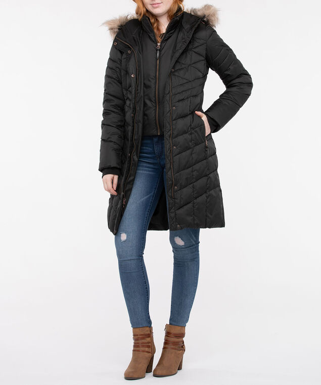 Hooded Longline Chevron Puffer Coat, Black, hi-res