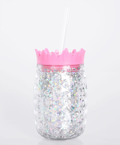 Pineapple & Glitter Water Bottle, Pink, hi-res