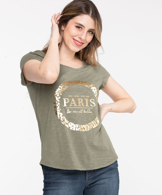 Scoop Neck Shirttail Graphic Tee, Olive/Gold Paris