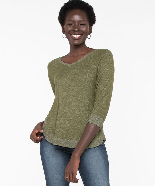 Lightweight Knit Rib Trim Pullover, Ponderosa Pine Mix, hi-res
