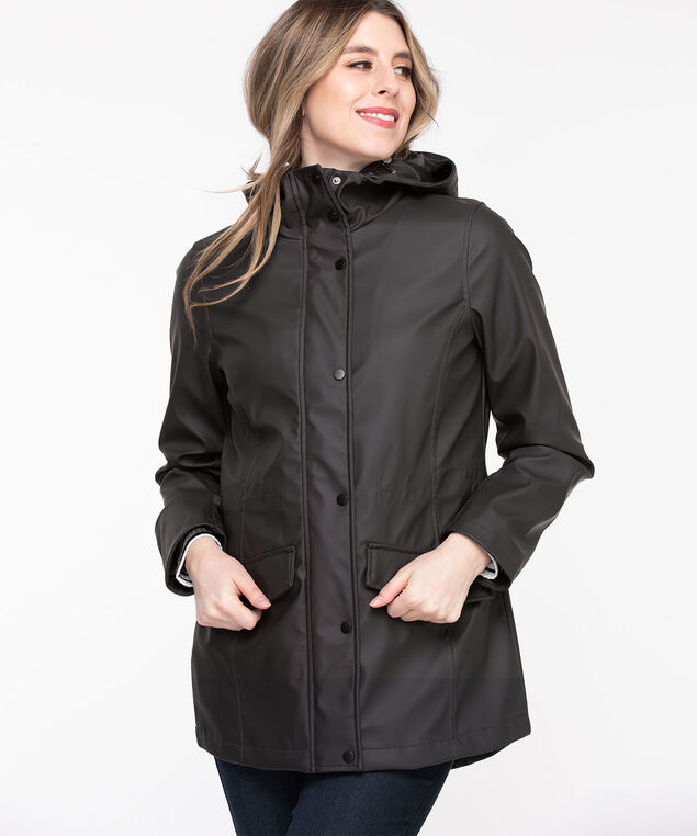 Hooded Rain Jacket, Black