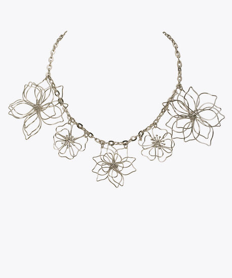 Wire Flower Statement Necklace, Rhodium, hi-res