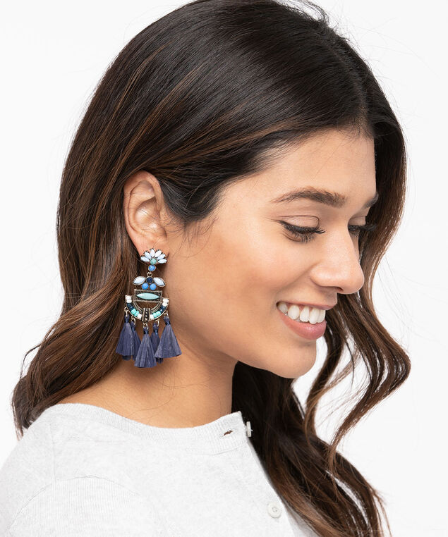 Coloured Stone & Tassel Chandelier Earring, Summer Navy/Pale Blue/Jade, hi-res