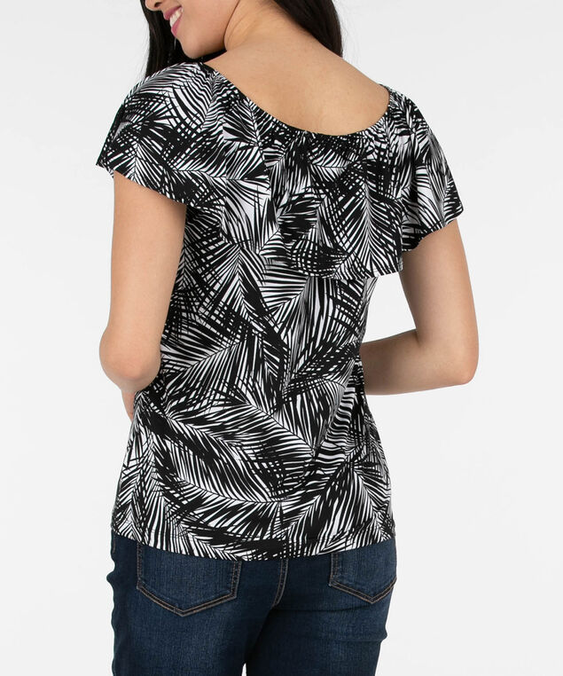 On Off Shoulder Ruffle Neck Top, Black/White, hi-res