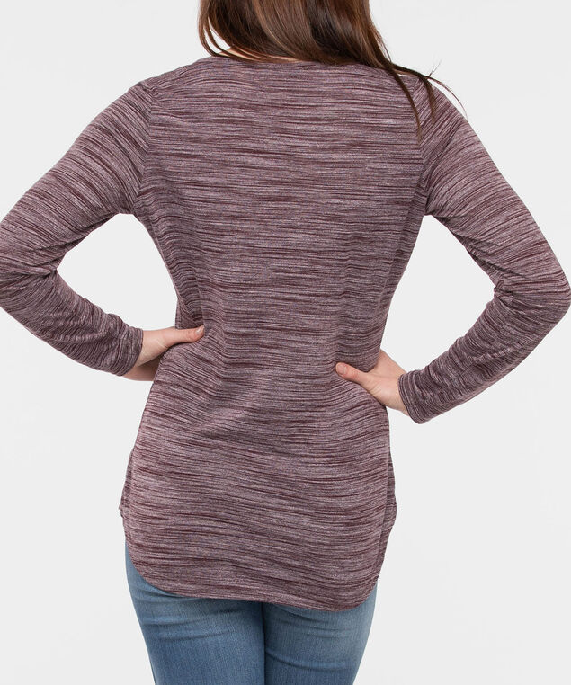 3/4 Sleeve Studded Henley Top, Burgundy, hi-res