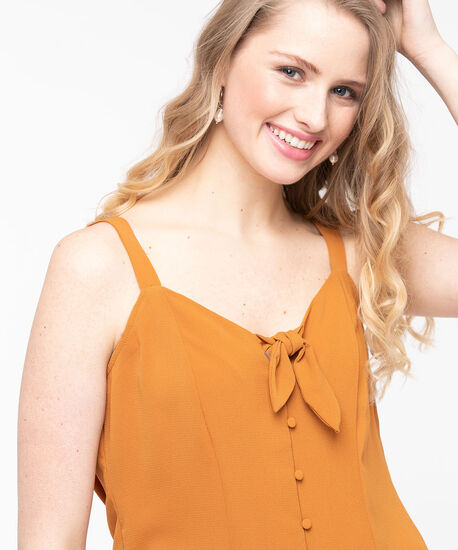 Sleeveless Button Front Blouse, Gold, hi-res